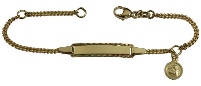 Baby Taufe Name Datum Gravur Armband mit Herz und rundem Schutzengel Gold 333